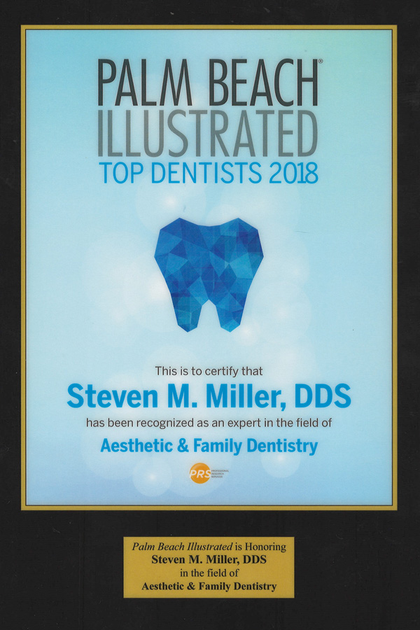 Steven Miller named top dentist 2018 by Palm Beach Illustrated.